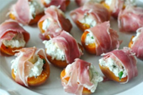 Basil, Goat Cheese and Marcona Almond Stuffed Apricots Wrapped in Prosciutto